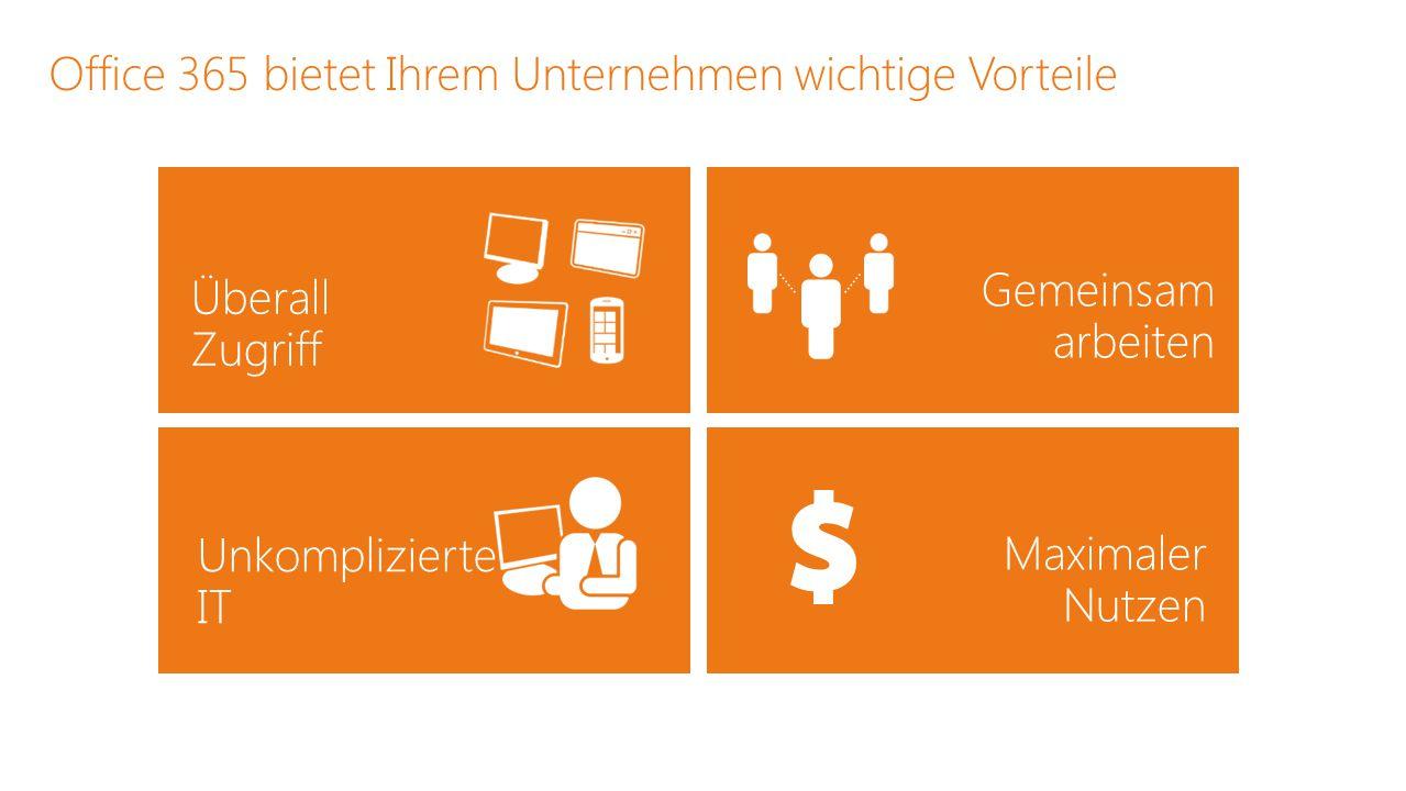 Office 365 bietet Ihrem Unternehmen wichtige Vorteile Überall Zugriff Maximaler Nutzen Gemeinsam arbeiten Unkomplizierte IT