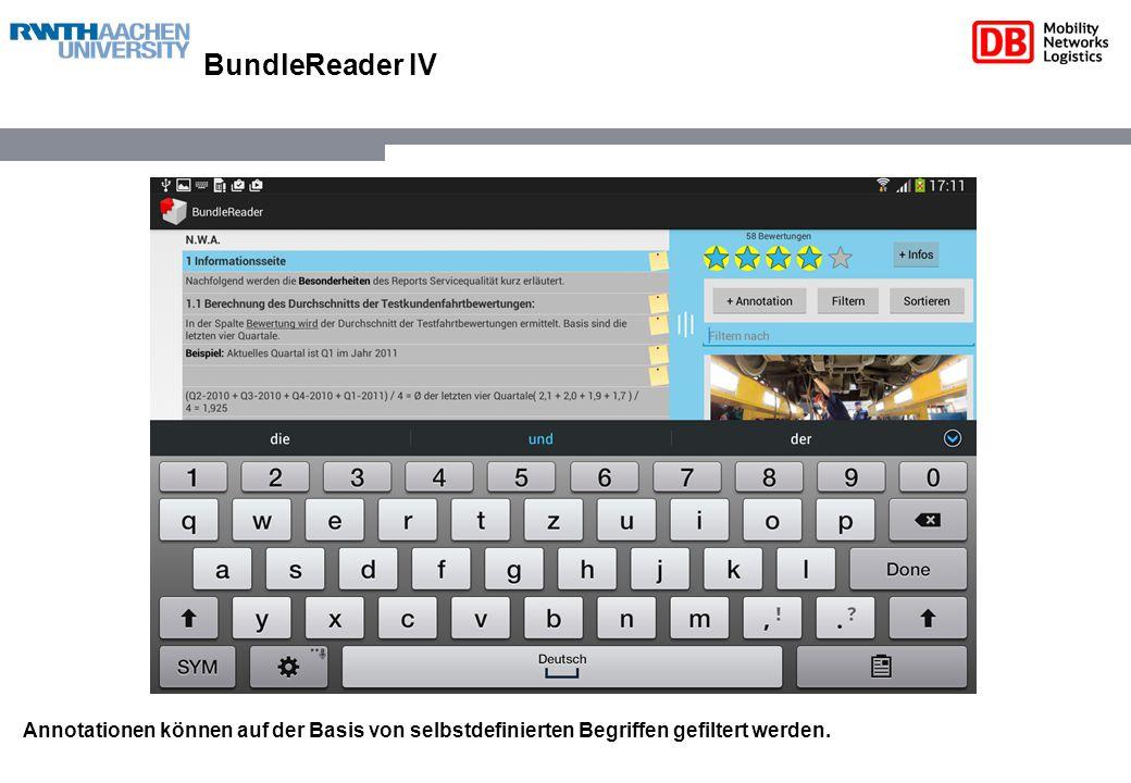 BundleReader IV Annotationen können auf der Basis von selbstdefinierten Begriffen gefiltert werden.