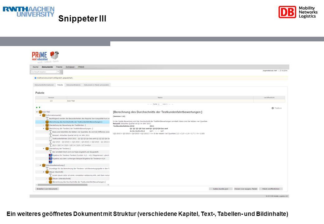 Snippeter III Ein weiteres geöffnetes Dokument mit Struktur (verschiedene Kapitel, Text-, Tabellen- und Bildinhalte)