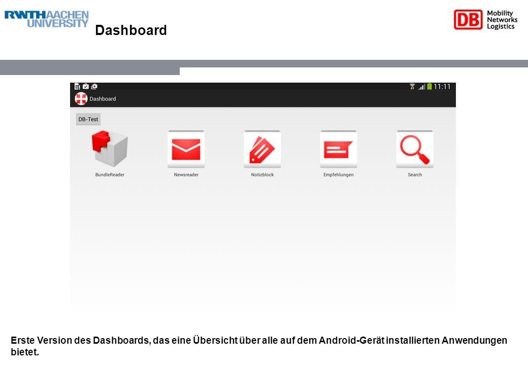 Dashboard Erste Version des Dashboards, das eine Übersicht über alle auf dem Android-Gerät installierten Anwendungen bietet.