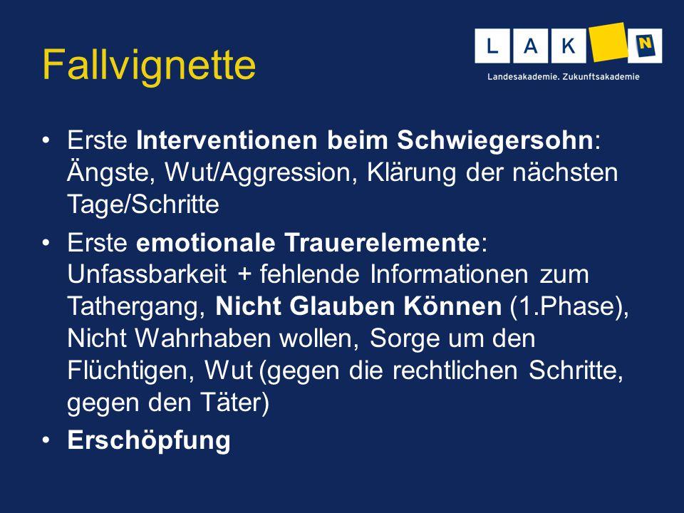 Fallvignette Erste Interventionen beim Schwiegersohn: Ängste, Wut/Aggression, Klärung der nächsten Tage/Schritte Erste emotionale Trauerelemente: Unfa