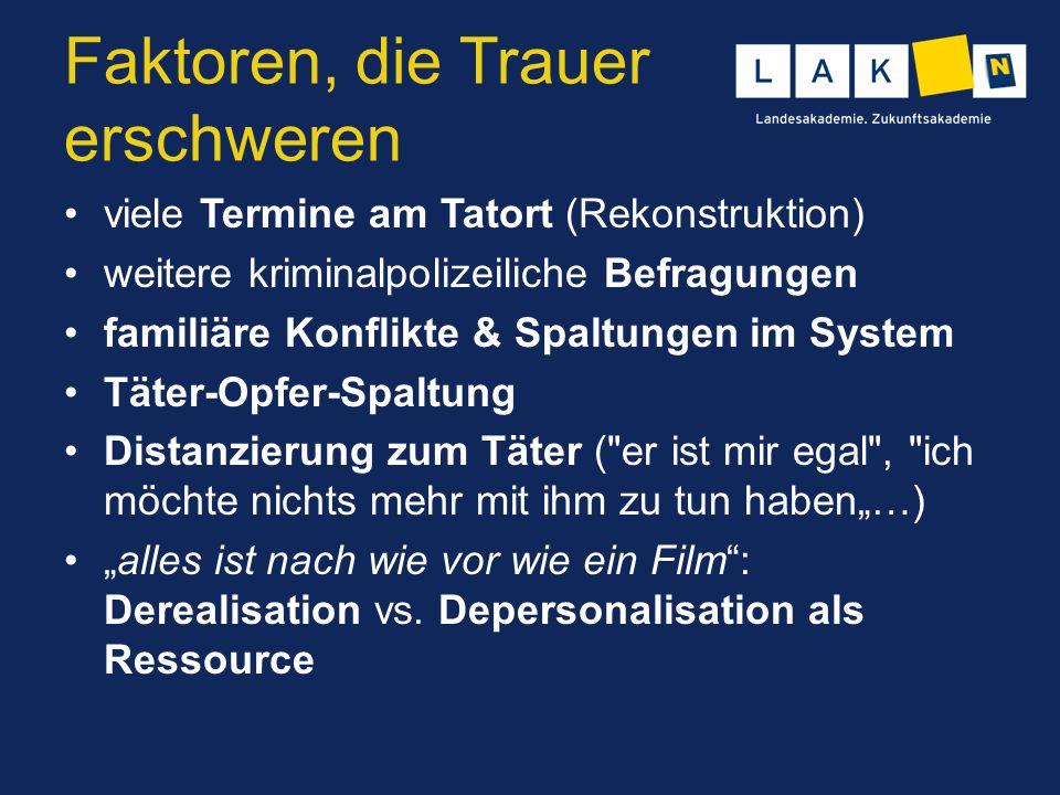 Faktoren, die Trauer erschweren viele Termine am Tatort (Rekonstruktion) weitere kriminalpolizeiliche Befragungen familiäre Konflikte & Spaltungen im