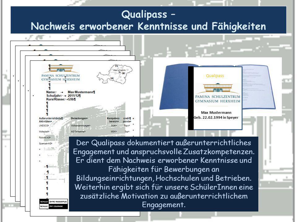 Qualipass – Nachweis erworbener Kenntnisse und Fähigkeiten Qualipass Max Mustermann Geb. 22.02.1994 in Speyer Der Qualipass dokumentiert außerunterric