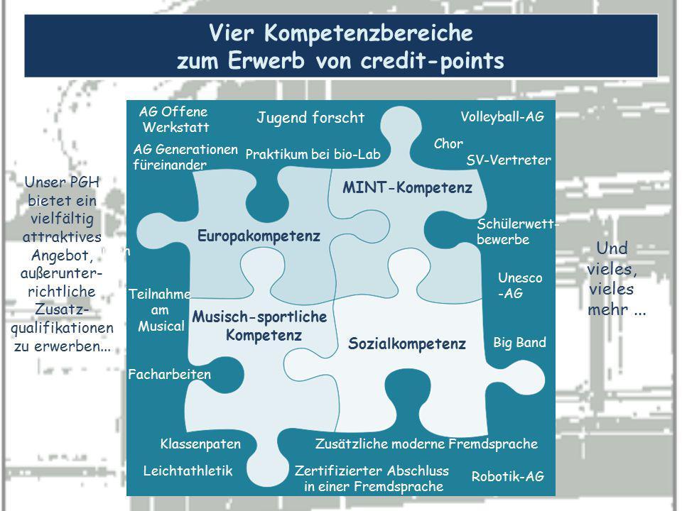 Vier Kompetenzbereiche zum Erwerb von credit-points Europakompetenz MINT-Kompetenz Sozialkompetenz Musisch-sportliche Kompetenz Schüleraustausch Zusät