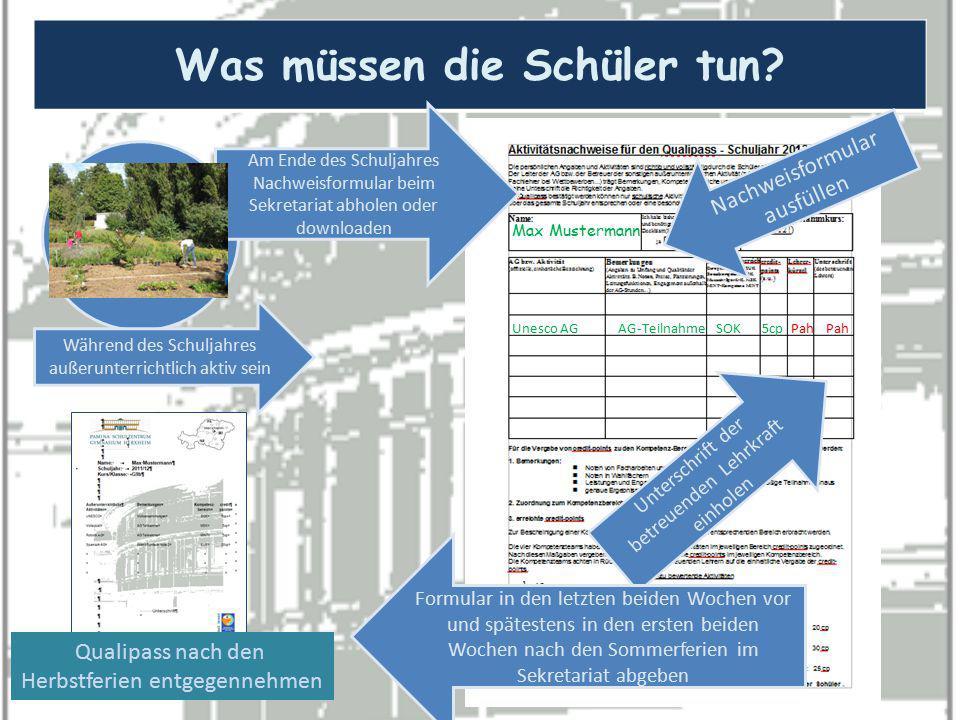 Was müssen die Schüler tun? Max Mustermann Unesco AG Während des Schuljahres außerunterrichtlich aktiv sein Am Ende des Schuljahres Nachweisformular b