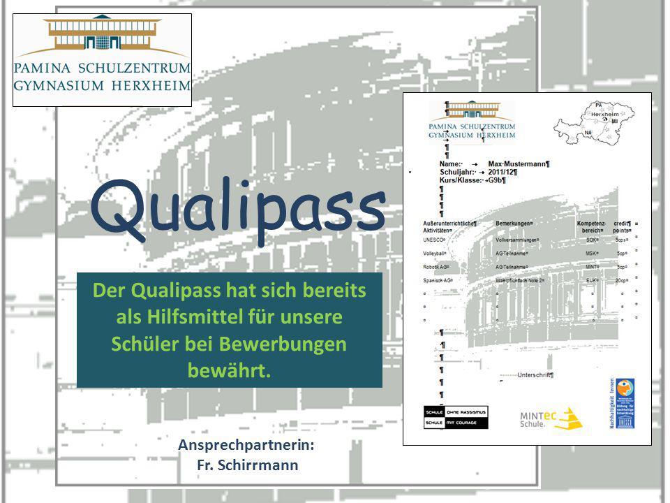 homepage Qualipass Ansprechpartnerin: Fr. Schirrmann Der Qualipass hat sich bereits als Hilfsmittel für unsere Schüler bei Bewerbungen bewährt.