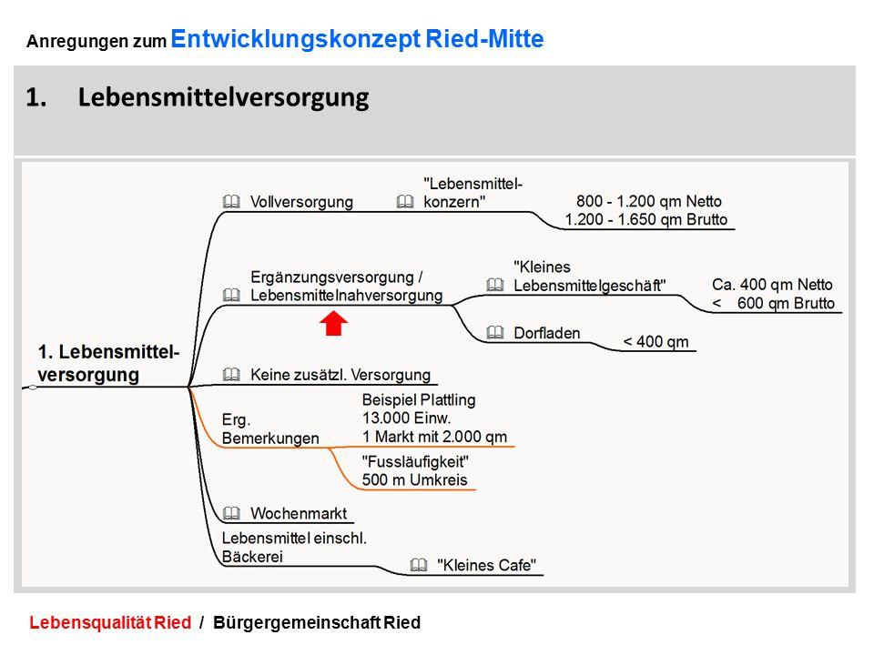 Lebensqualität Ried / Bürgergemeinschaft Ried 10 Anregungen zum Entwicklungskonzept Ried-Mitte 1.