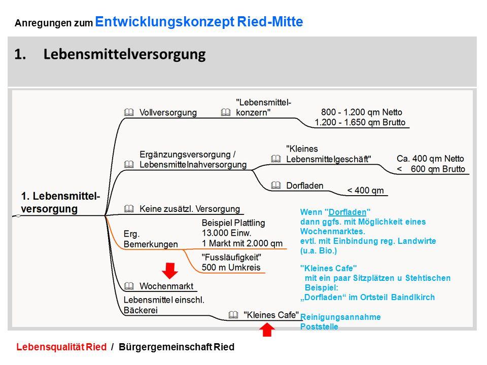 Lebensqualität Ried / Bürgergemeinschaft Ried 14 Anregungen zum Entwicklungskonzept Ried-Mitte 1.