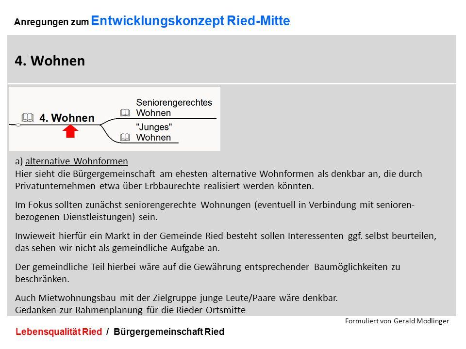 Lebensqualität Ried / Bürgergemeinschaft Ried 17 Anregungen zum Entwicklungskonzept Ried-Mitte 4.