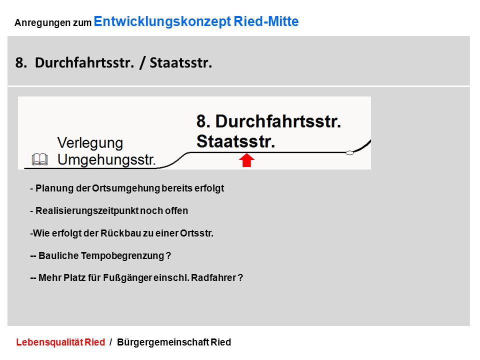 Lebensqualität Ried / Bürgergemeinschaft Ried 24 Anregungen zum Entwicklungskonzept Ried-Mitte 8.