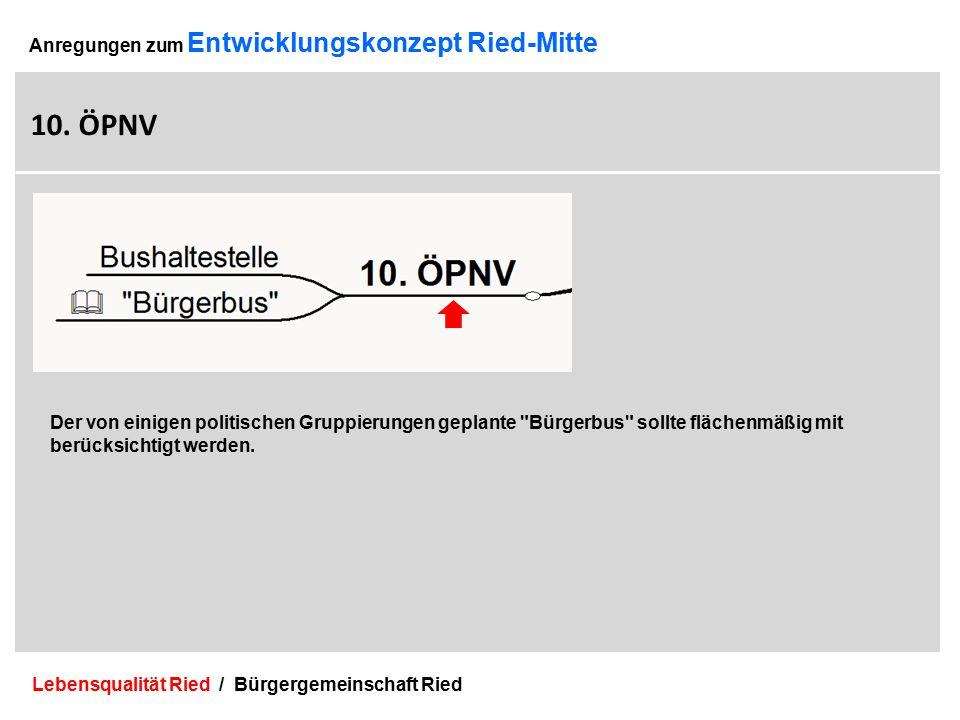 Lebensqualität Ried / Bürgergemeinschaft Ried 26 Anregungen zum Entwicklungskonzept Ried-Mitte 10.