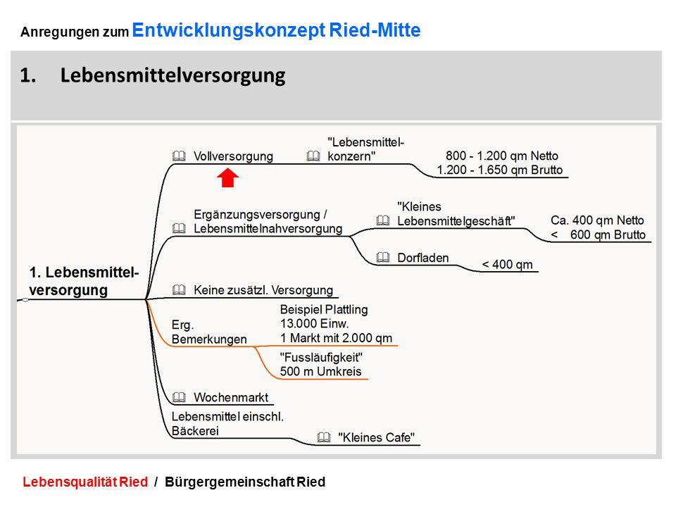 Lebensqualität Ried / Bürgergemeinschaft Ried 3 Anregungen zum Entwicklungskonzept Ried-Mitte 1.