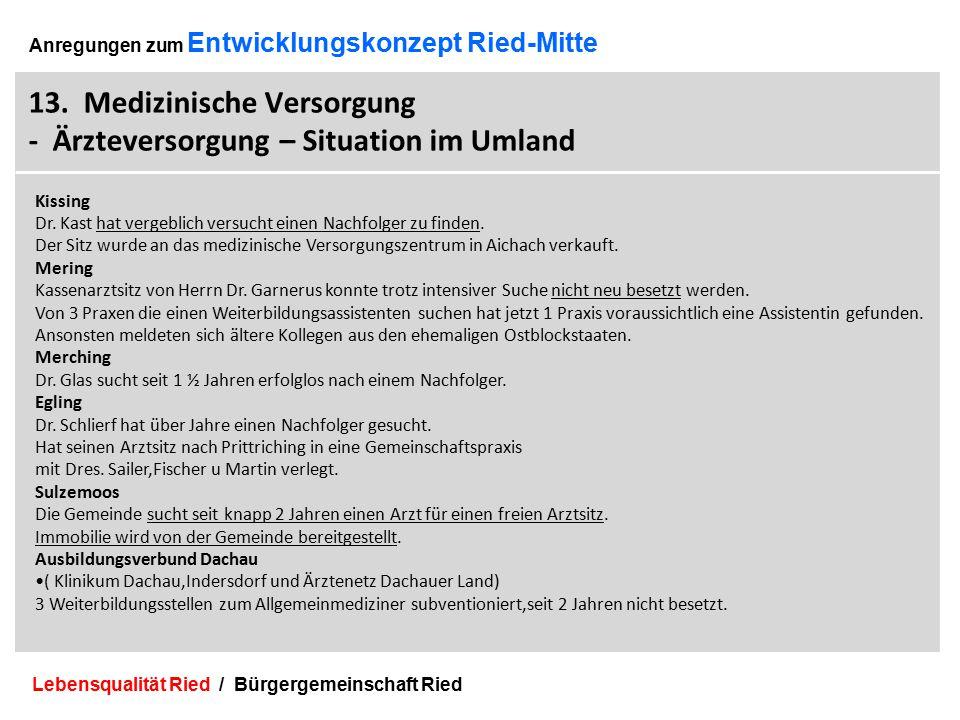 Lebensqualität Ried / Bürgergemeinschaft Ried 32 Anregungen zum Entwicklungskonzept Ried-Mitte 13.