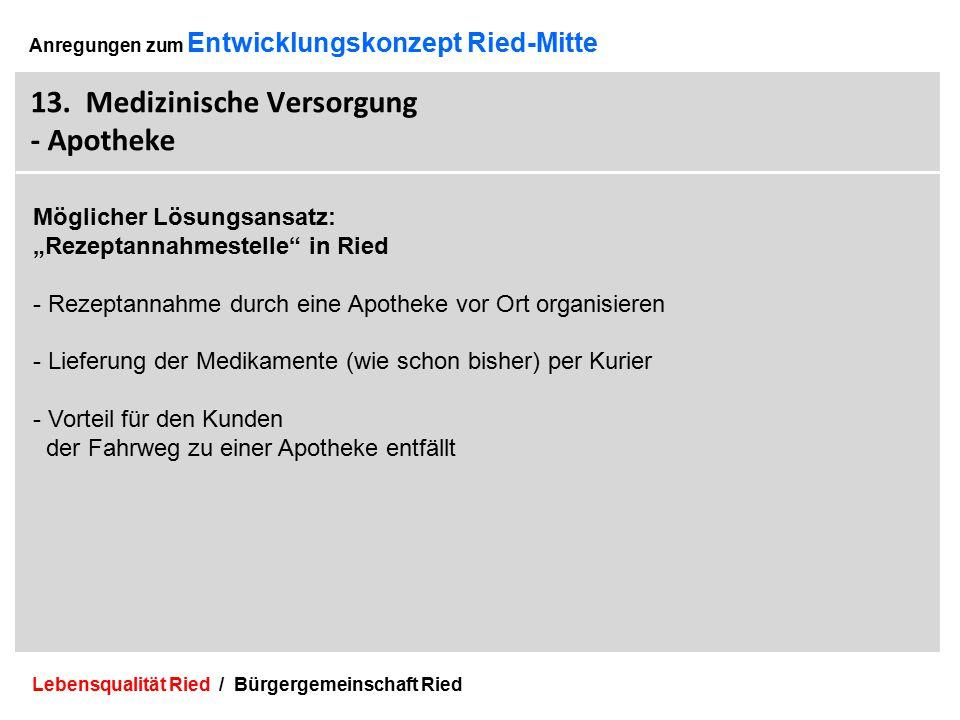Lebensqualität Ried / Bürgergemeinschaft Ried 36 Anregungen zum Entwicklungskonzept Ried-Mitte 13.