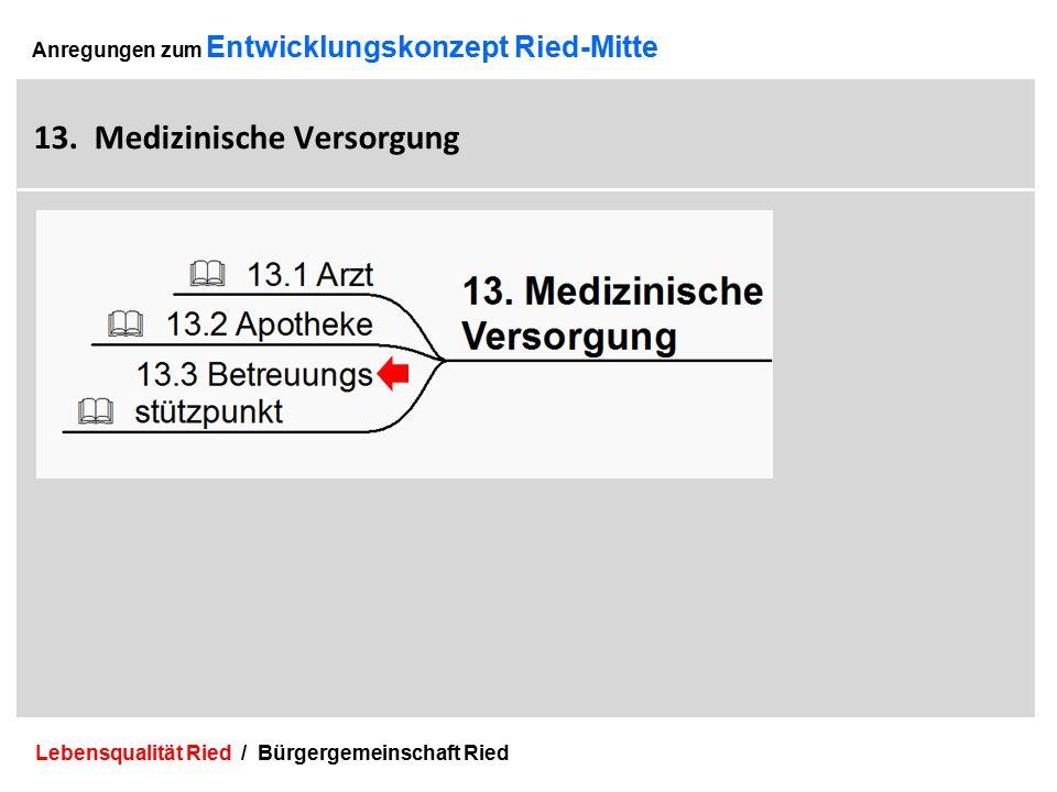Lebensqualität Ried / Bürgergemeinschaft Ried 37 Anregungen zum Entwicklungskonzept Ried-Mitte 13.