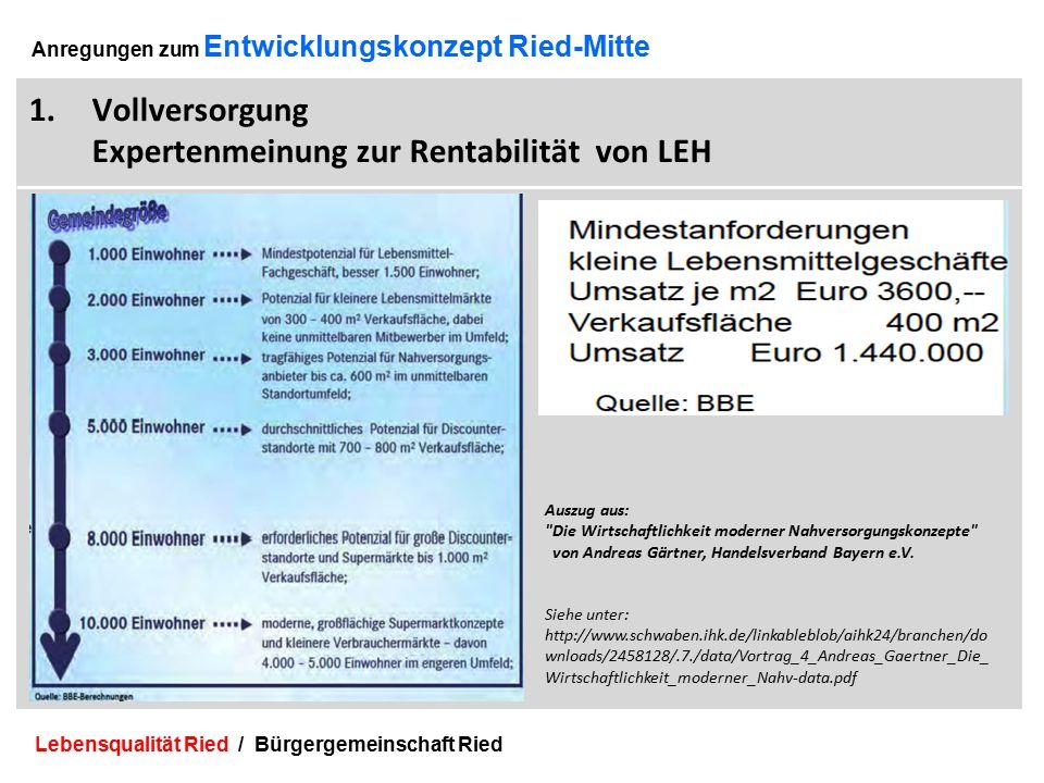 Lebensqualität Ried / Bürgergemeinschaft Ried 5 Anregungen zum Entwicklungskonzept Ried-Mitte 1.