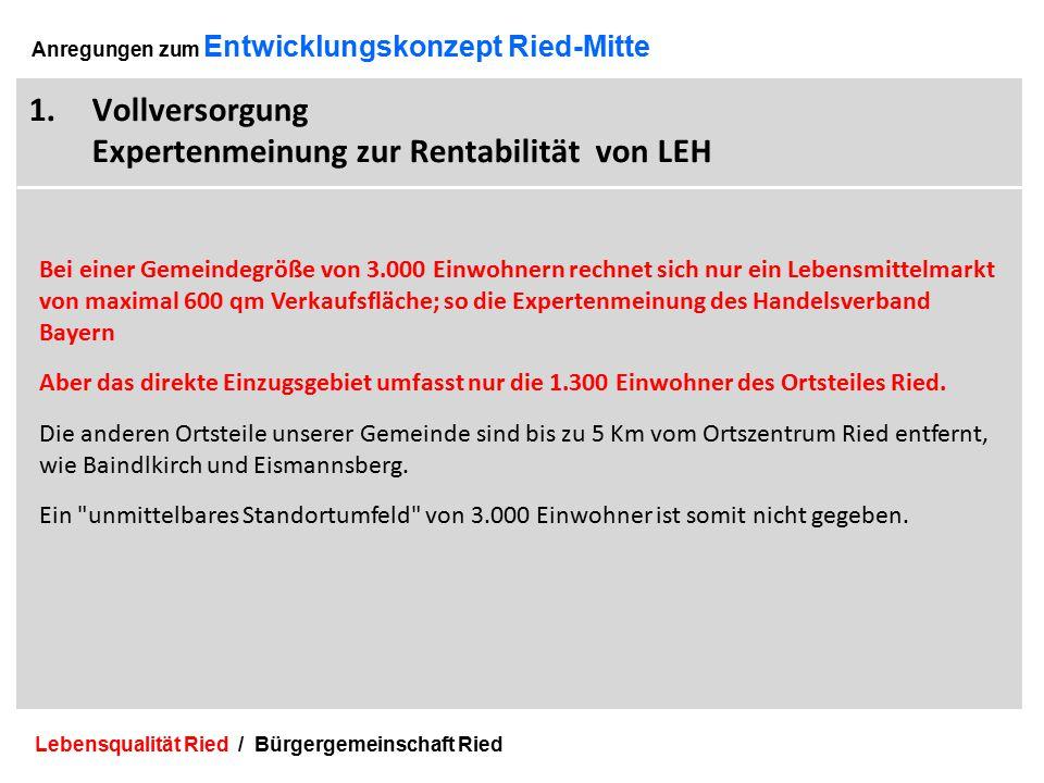 Lebensqualität Ried / Bürgergemeinschaft Ried 6 Anregungen zum Entwicklungskonzept Ried-Mitte 1.