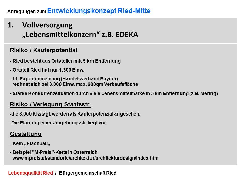 Lebensqualität Ried / Bürgergemeinschaft Ried 9 Anregungen zum Entwicklungskonzept Ried-Mitte 1.