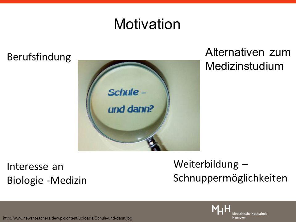 http://www.news4teachers.de/wp-content/uploads/Schule-und-dann.jpg Motivation Alternativen zum Medizinstudium Interesse an Biologie -Medizin Berufsfindung Weiterbildung – Schnuppermöglichkeiten