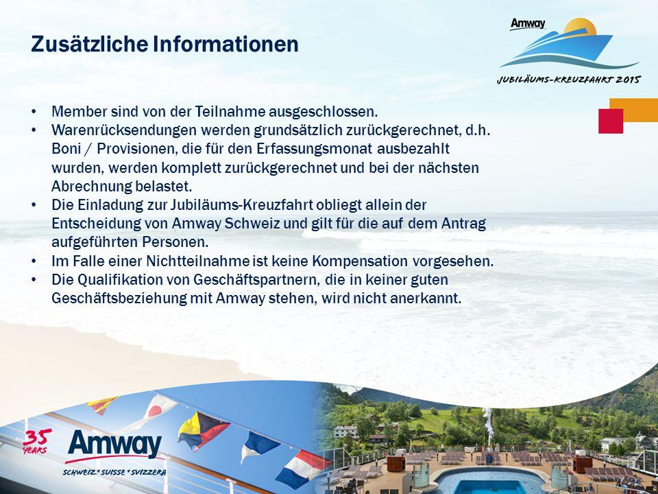 Zusätzliche Informationen Member sind von der Teilnahme ausgeschlossen. Warenrücksendungen werden grundsätzlich zurückgerechnet, d.h. Boni / Provision