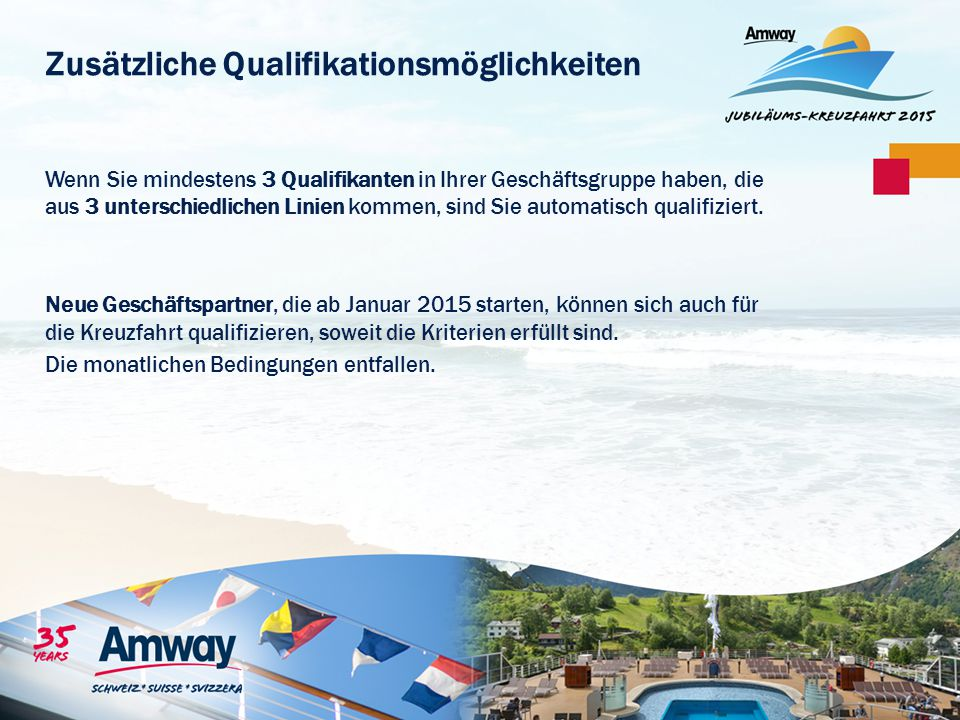 Zusätzliche Qualifikationsmöglichkeiten Wenn Sie mindestens 3 Qualifikanten in Ihrer Geschäftsgruppe haben, die aus 3 unterschiedlichen Linien kommen,