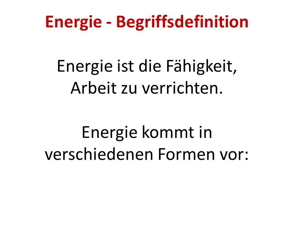 Energie - Begriffsdefinition Energie ist die Fähigkeit, Arbeit zu verrichten. Energie kommt in verschiedenen Formen vor:
