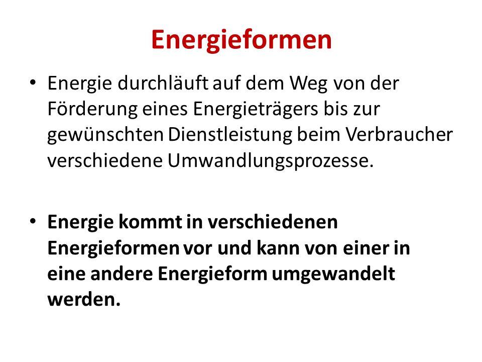 Energieformen Energie durchläuft auf dem Weg von der Förderung eines Energieträgers bis zur gewünschten Dienstleistung beim Verbraucher verschiedene Umwandlungsprozesse.