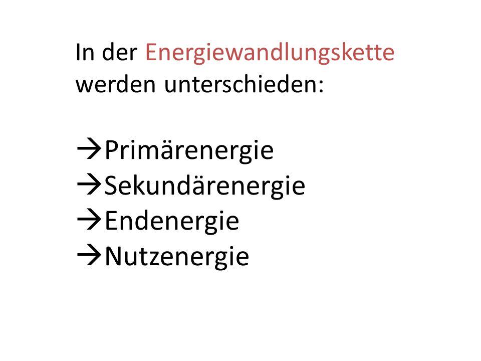 In der Energiewandlungskette werden unterschieden:  Primärenergie  Sekundärenergie  Endenergie  Nutzenergie