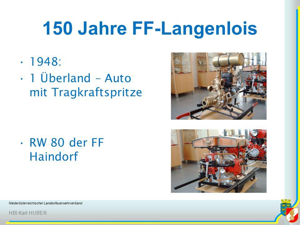 Niederösterreichischer Landesfeuerwehrverband HBI Karl HUBER 150 Jahre FF-Langenlois 1948: 1 Überland – Auto mit Tragkraftspritze RW 80 der FF Haindorf