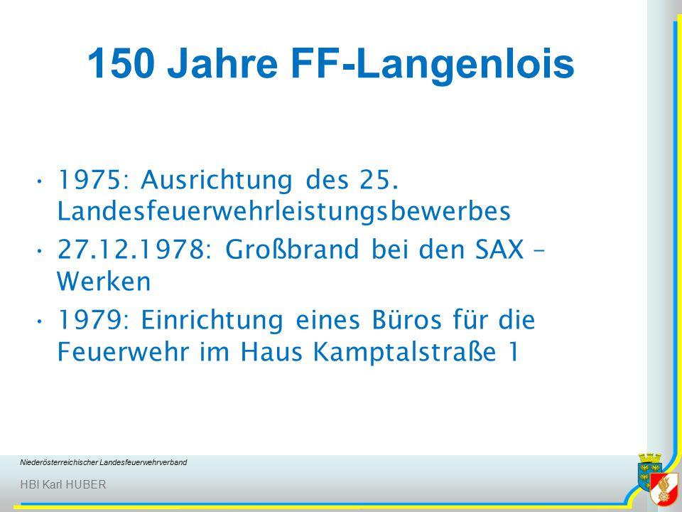 Niederösterreichischer Landesfeuerwehrverband HBI Karl HUBER 150 Jahre FF-Langenlois 1975: Ausrichtung des 25.