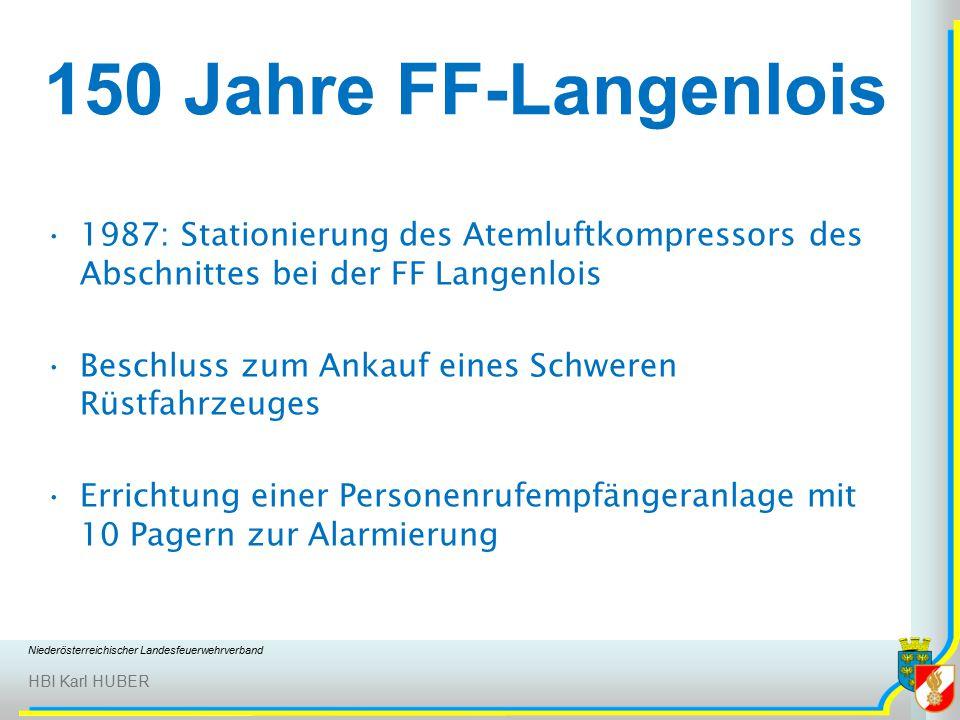 Niederösterreichischer Landesfeuerwehrverband HBI Karl HUBER 150 Jahre FF-Langenlois 1987: Stationierung des Atemluftkompressors des Abschnittes bei der FF Langenlois Beschluss zum Ankauf eines Schweren Rüstfahrzeuges Errichtung einer Personenrufempfängeranlage mit 10 Pagern zur Alarmierung