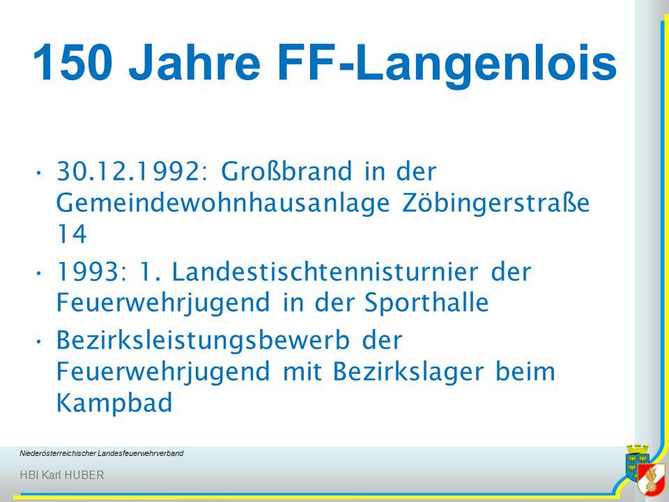 Niederösterreichischer Landesfeuerwehrverband HBI Karl HUBER 150 Jahre FF-Langenlois 30.12.1992: Großbrand in der Gemeindewohnhausanlage Zöbingerstraße 14 1993: 1.