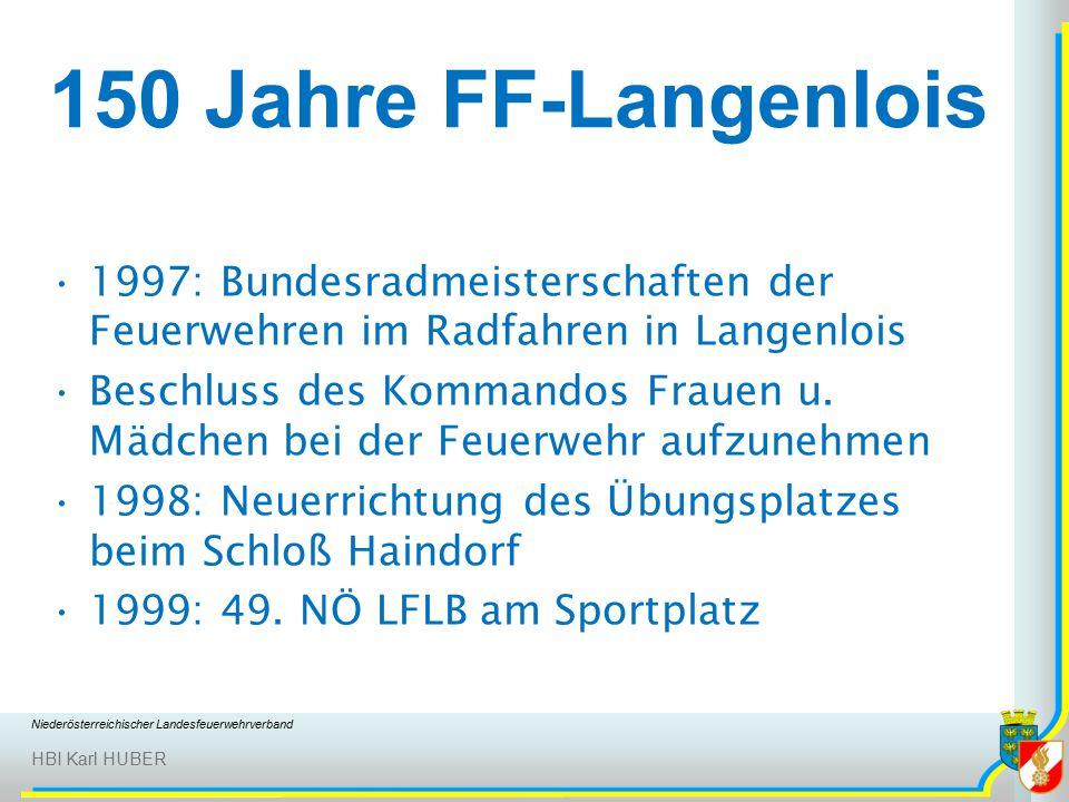 Niederösterreichischer Landesfeuerwehrverband HBI Karl HUBER 150 Jahre FF-Langenlois 1997: Bundesradmeisterschaften der Feuerwehren im Radfahren in Langenlois Beschluss des Kommandos Frauen u.