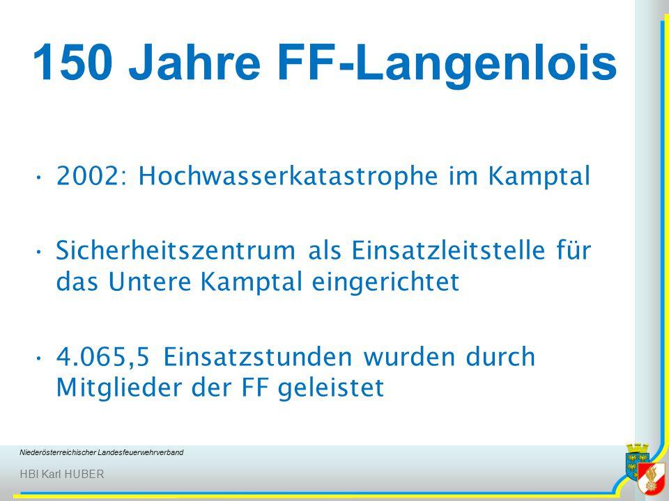 Niederösterreichischer Landesfeuerwehrverband HBI Karl HUBER 150 Jahre FF-Langenlois 2002: Hochwasserkatastrophe im Kamptal Sicherheitszentrum als Einsatzleitstelle für das Untere Kamptal eingerichtet 4.065,5 Einsatzstunden wurden durch Mitglieder der FF geleistet