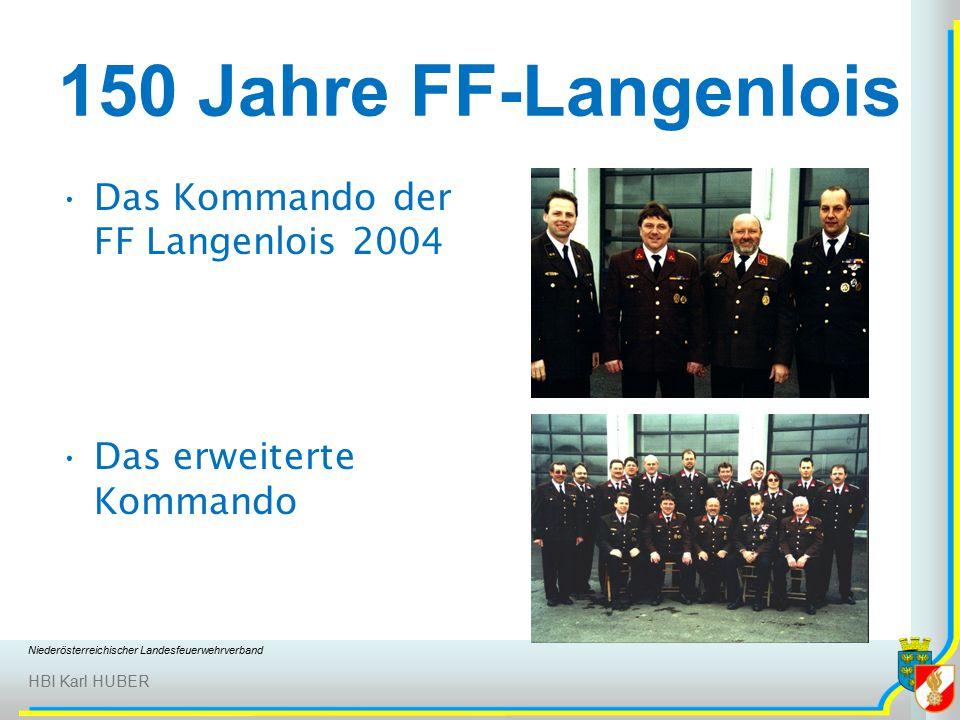 Niederösterreichischer Landesfeuerwehrverband HBI Karl HUBER 150 Jahre FF-Langenlois Das Kommando der FF Langenlois 2004 Das erweiterte Kommando