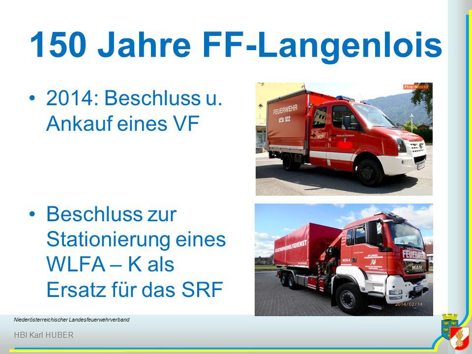 Niederösterreichischer Landesfeuerwehrverband HBI Karl HUBER 150 Jahre FF-Langenlois 2014: Beschluss u.