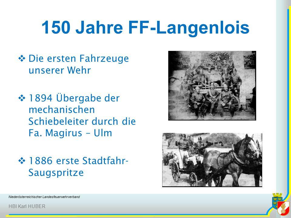 Niederösterreichischer Landesfeuerwehrverband HBI Karl HUBER 150 Jahre FF-Langenlois  Die ersten Fahrzeuge unserer Wehr  1894 Übergabe der mechanischen Schiebeleiter durch die Fa.