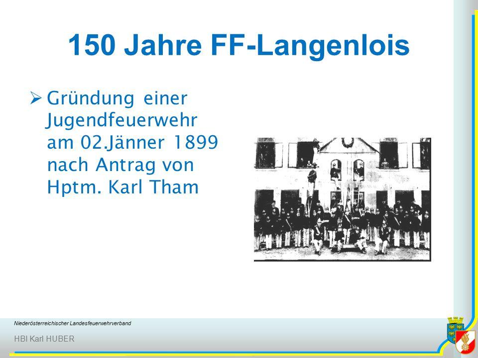 Niederösterreichischer Landesfeuerwehrverband HBI Karl HUBER 150 Jahre FF-Langenlois  Gründung einer Jugendfeuerwehr am 02.Jänner 1899 nach Antrag von Hptm.