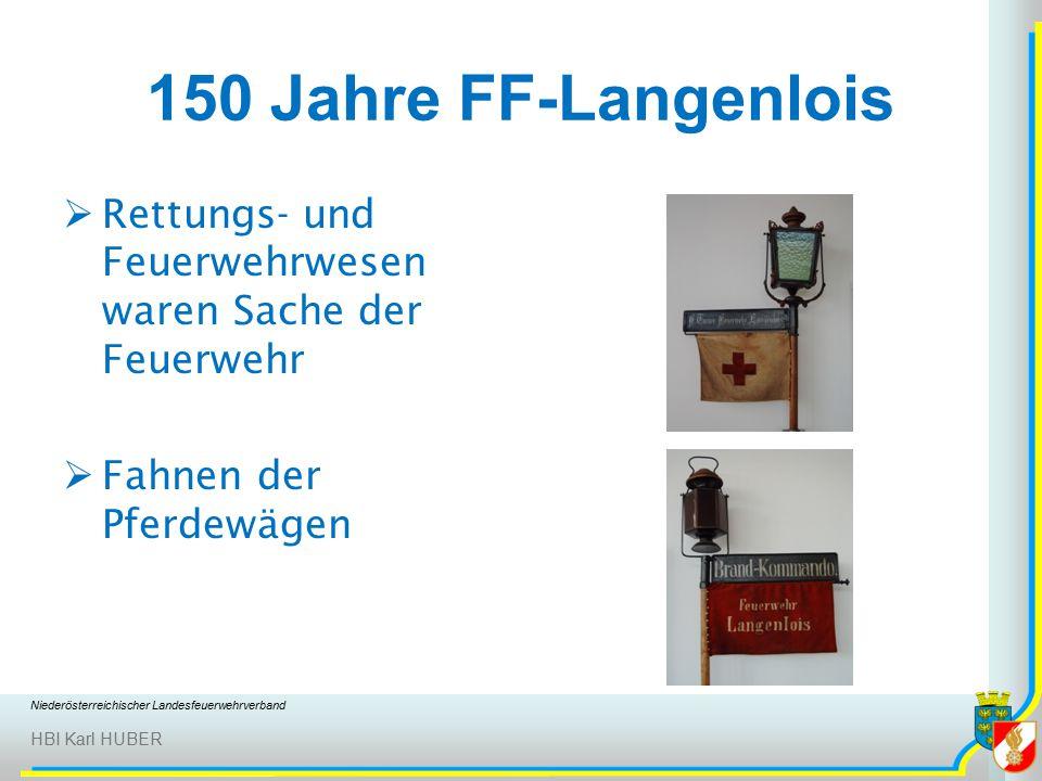Niederösterreichischer Landesfeuerwehrverband HBI Karl HUBER 150 Jahre FF-Langenlois  Rettungs- und Feuerwehrwesen waren Sache der Feuerwehr  Fahnen der Pferdewägen