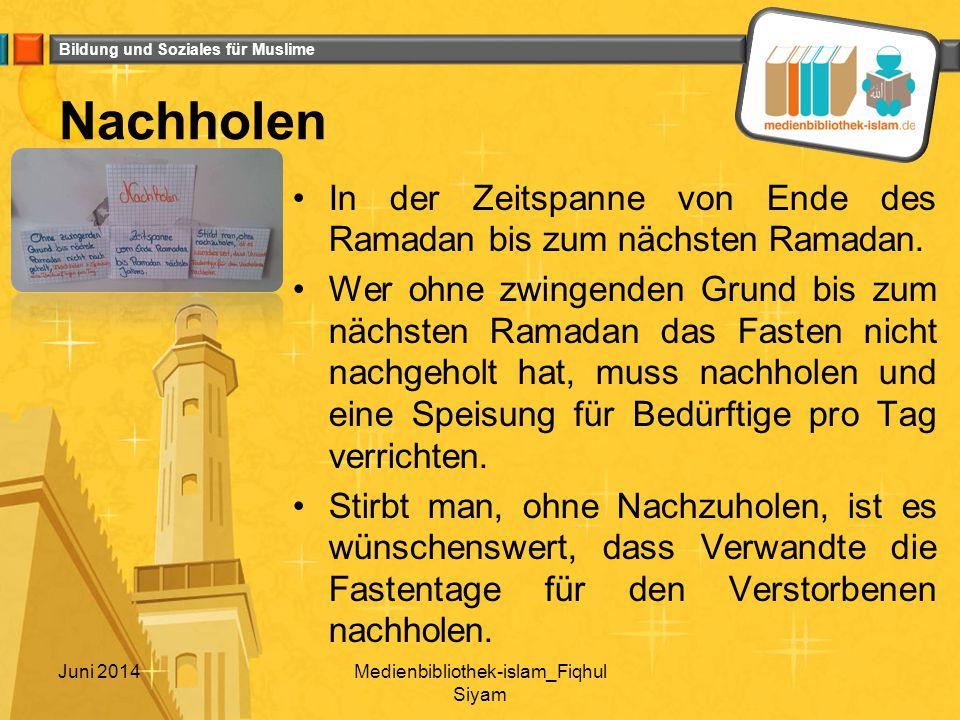 Bildung und Soziales für Muslime Taten die man während dem Ramadan vermehren sollte - von Schülern empfohlen Spenden Familienbande pflegen zur Moschee gehen der Mutter helfen Freunde oder Familienmitglieder zum Suhur aufwecken Pünktlich die Gebete verrichten zum Suhur aufstehen Quran lesen Sunna-Gebete verrichten pro Tag min.