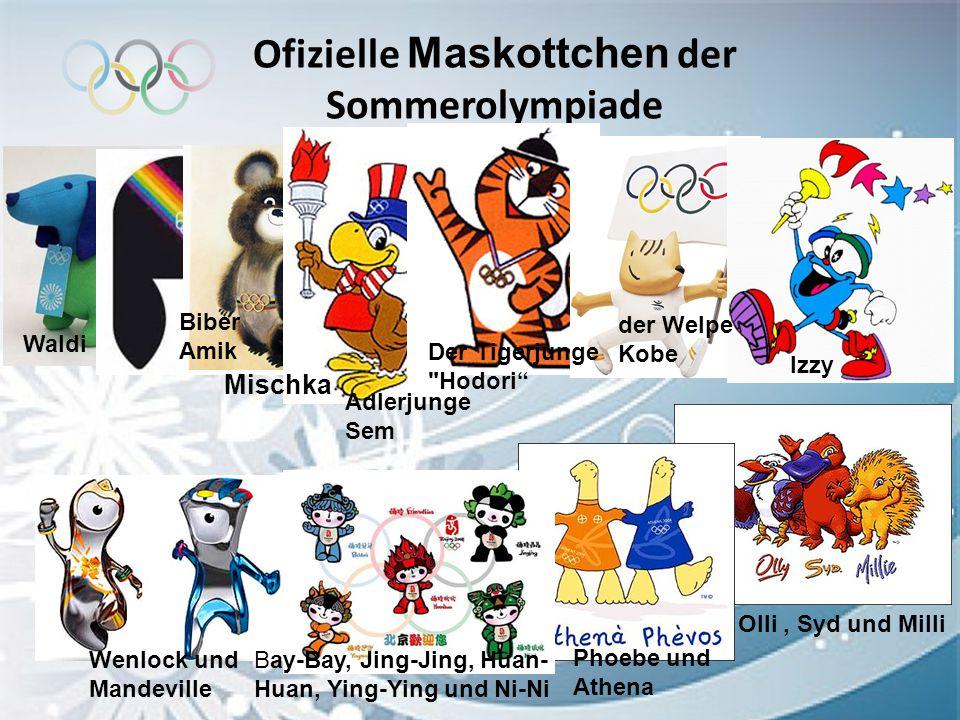 Ofizielle Maskottchen der Sommerolympiade Waldi Biber Amik Mischka Adlerjunge Sem Der Tigerjunge
