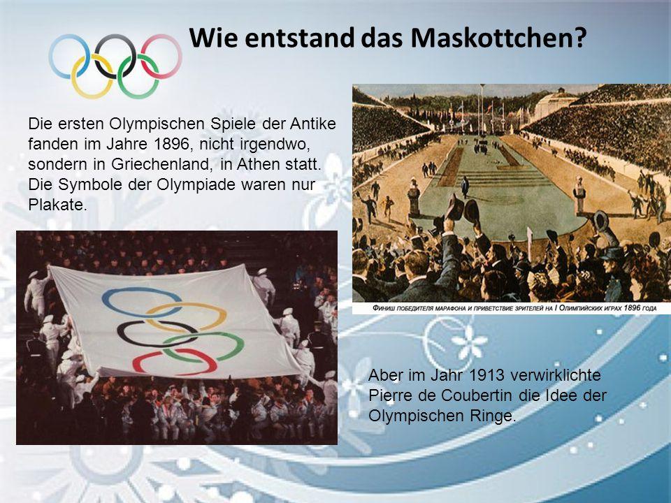 Wie entstand das Maskottchen? Die ersten Olympischen Spiele der Antike fanden im Jahre 1896, nicht irgendwo, sondern in Griechenland, in Athen statt.