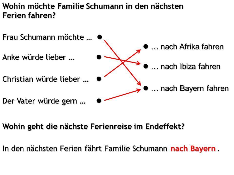 Wohin möchte Familie Schumann in den nächsten Ferien fahren.