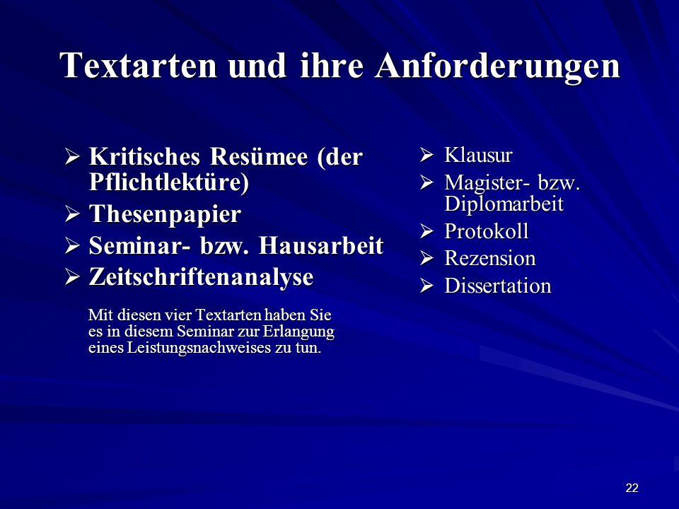 22 Textarten und ihre Anforderungen  Klausur  Magister- bzw.