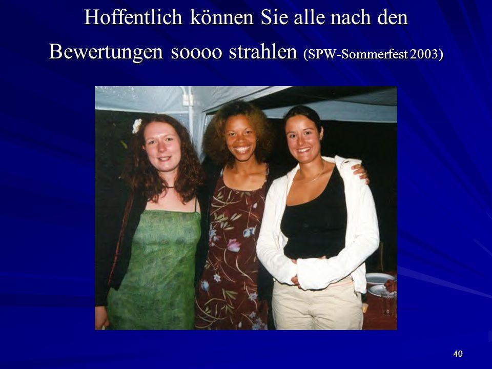 40 Hoffentlich können Sie alle nach den Bewertungen soooo strahlen (SPW-Sommerfest 2003)