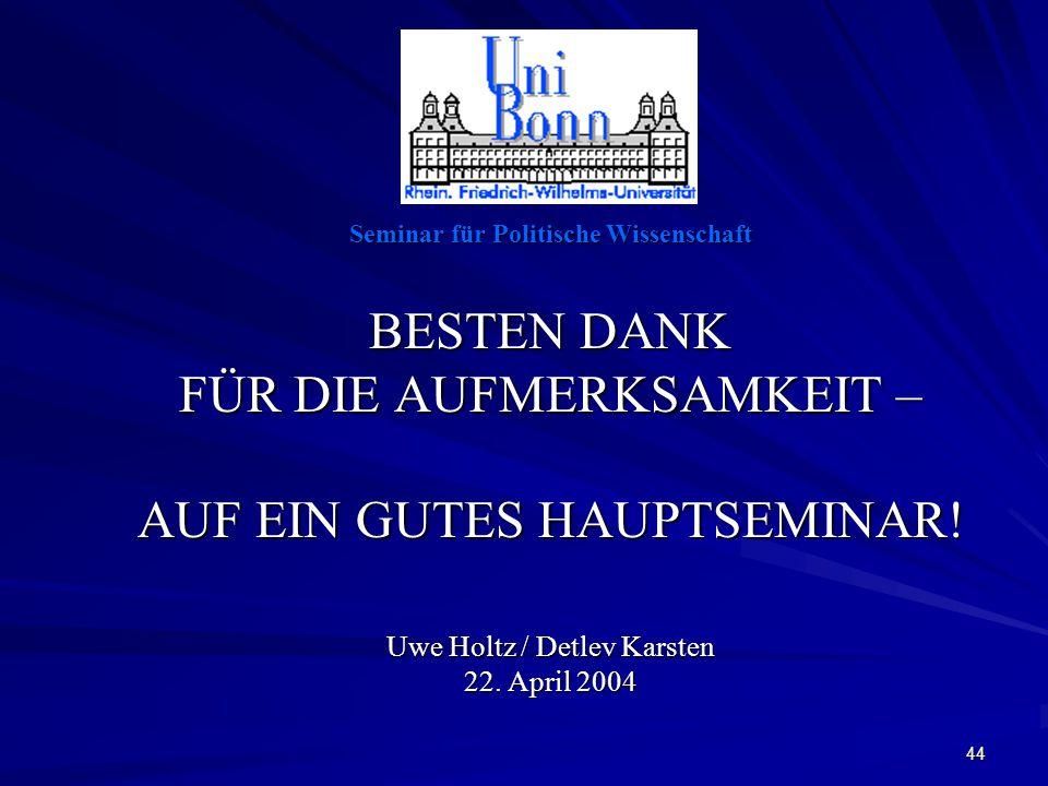 44 Seminar für Politische Wissenschaft BESTEN DANK FÜR DIE AUFMERKSAMKEIT – AUF EIN GUTES HAUPTSEMINAR.