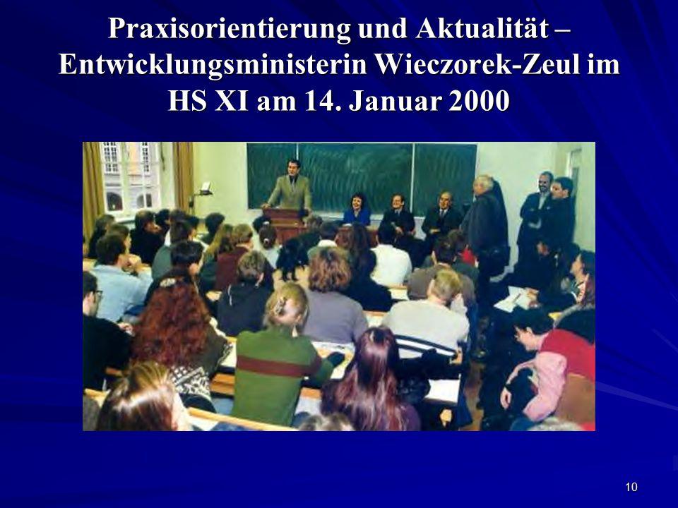10 Praxisorientierung und Aktualität – Entwicklungsministerin Wieczorek-Zeul im HS XI am 14. Januar 2000