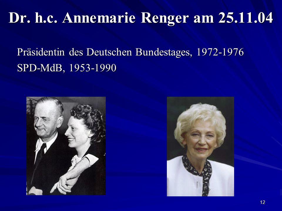 12 Dr. h.c. Annemarie Renger am 25.11.04 Präsidentin des Deutschen Bundestages, 1972-1976 SPD-MdB, 1953-1990
