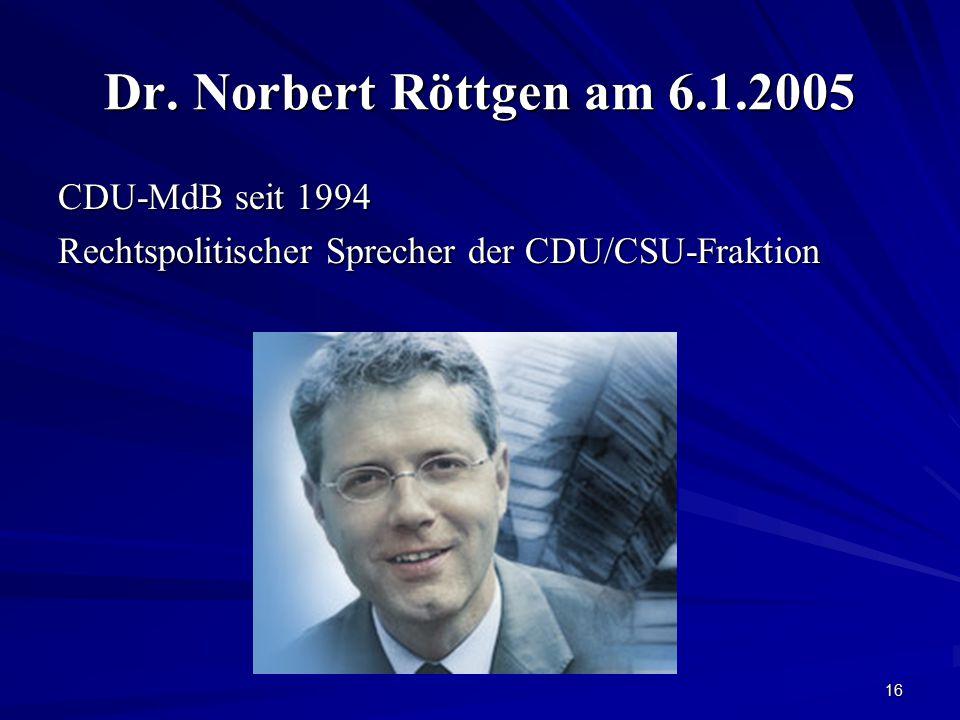 16 Dr. Norbert Röttgen am 6.1.2005 CDU-MdB seit 1994 Rechtspolitischer Sprecher der CDU/CSU-Fraktion