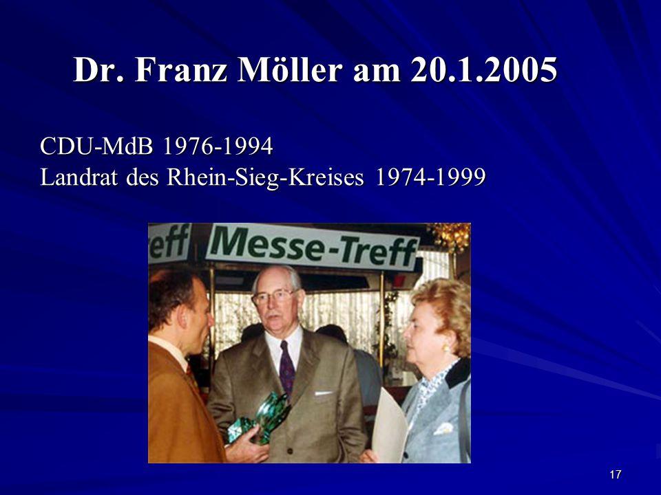 17 Dr. Franz Möller am 20.1.2005 CDU-MdB 1976-1994 Landrat des Rhein-Sieg-Kreises 1974-1999 Dr. Franz Möller am 20.1.2005 CDU-MdB 1976-1994 Landrat de